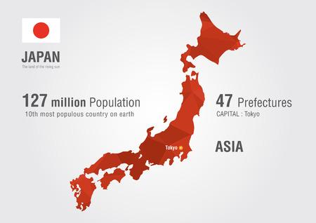 población: Japón mapa del mundo con una geografía mundial textura del diamante pixel Vectores