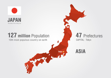 Japan world map with a pixel diamond texture World geography Vector
