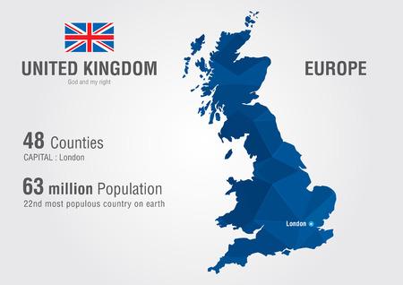 Royaume-Uni carte du monde de carte Angleterre avec une géographie mondiale pixel diamant de texture Vecteurs