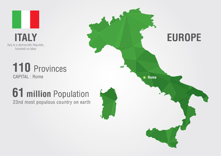 Italy world map with a pixel diamond texture  World Geography Illustration