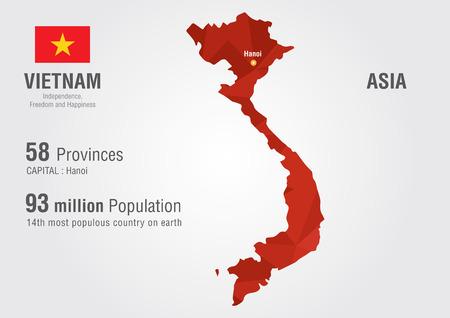 픽셀 다이아몬드 질감 세계 지리와 베트남의 세계지도