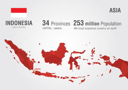 indonesien: Indonesi Weltkarte mit einem Pixelrautenstruktur Weltgeographie Illustration