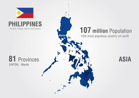 diamond texture: Philippines world map with a pixel diamond texture  World Geography