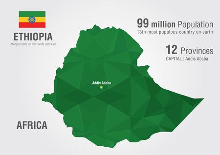 ethiopia: Ethiopia world map with a pixel diamond texture  World Geography