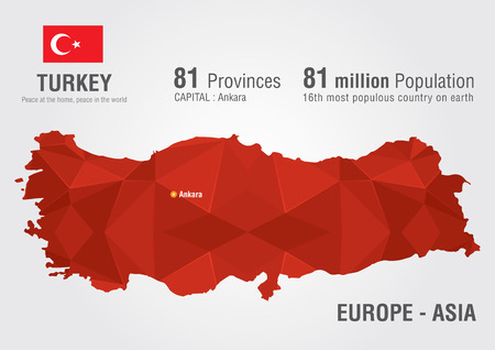 Turkey world map with a pixel diamond texture  World Geography  Vector