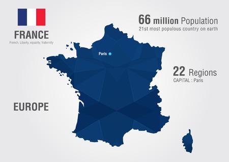 픽셀 다이아몬드 질감으로 프랑스의 세계지도입니다. 세계 지리