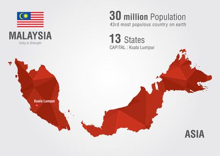 픽셀 다이아몬드 텍스처와 말레이시아 세계지도입니다. 세계 지리.