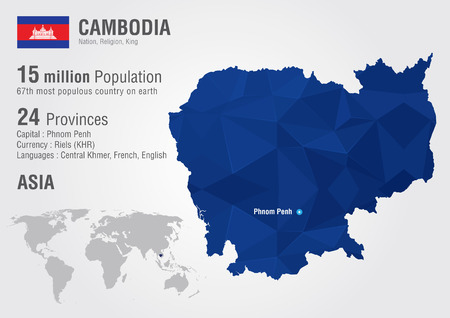 Cambodia world map with a pixel diamond texture  World Geography Vector