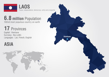 laos: Laos world map with a pixel diamond texture  World geography Illustration