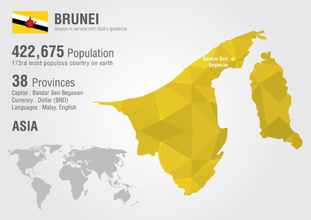 populous: Brunei world map with a pixel diamond texture  World Geography