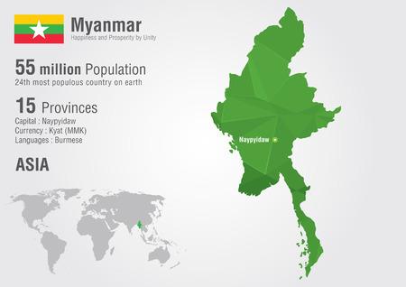 픽셀 다이아몬드 텍스처와 미얀마의 세계지도입니다. 미얀마지도. 세계 지리. 일러스트