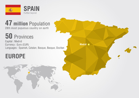 Spain world map with a pixel diamond texture. World Geography.