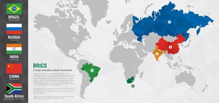 픽셀 다이아몬드 텍스처와 BRICS 세계지도입니다. 세계지도에서 브라질 러시아 인도 중국 남아프리카 공화국. 일러스트