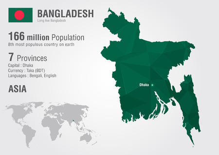 populous: Bangladesh world map woth a pixel diamond texture. World Geography Illustration