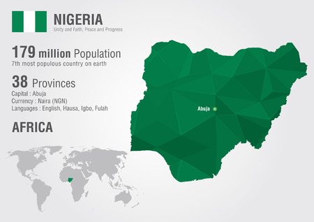 populous: Nigeria world map with a pixel diamond texture. World Geography.