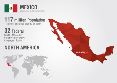 populous: Mexico world map with a pixel diamond texture. World Geography.