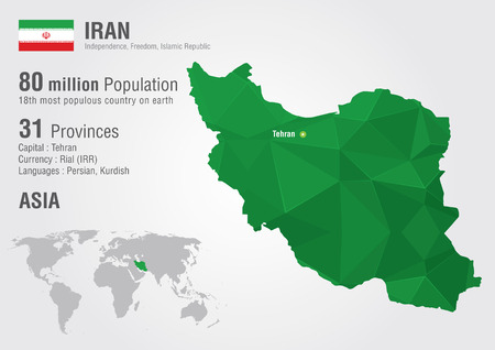 motto: Iran world map with a pixel diamond texture. World Geography.
