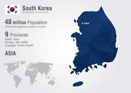 sur: Corea del Sur mapa del mundo con una textura de diamante pixel. Geografía Mundial. Vectores