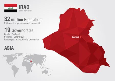 kingdom of god: Iraq world map with a pixel diamond texture  World Geography  Illustration