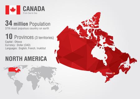Carte du Canada dans le monde avec une texture de diamant de pixel Géographie du monde