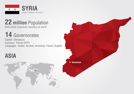 populous: Syria World map with a pixel diamond texture  World Geography