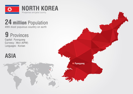 populous: North Korea world map with a pixel diamond texture  World Grography  Illustration