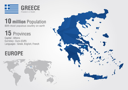 populous: Greece world map with a pixel diamond texture  World Geography
