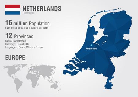 Nederland kaart van de wereld met een pixel diamanttextuur Wereld Geografie