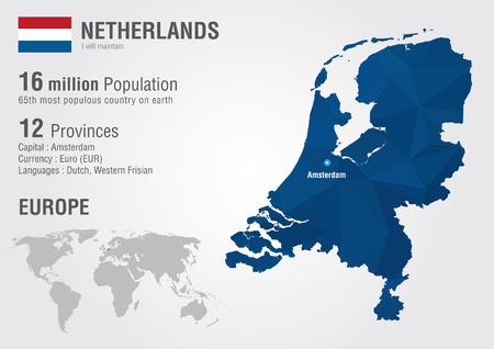 populous: Netherlands world map with a pixel diamond texture  World Geography