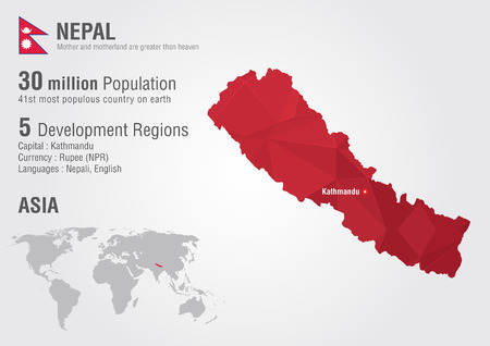 populous: Nepal world map with a pixel diamond texture  World Geography