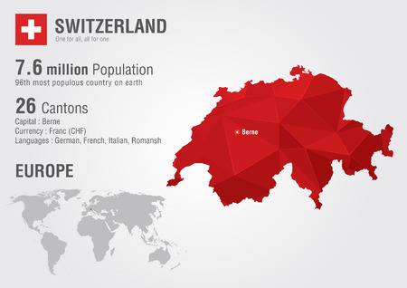 populous: Switzerland world map with a pixel diamond texture  World Geography
