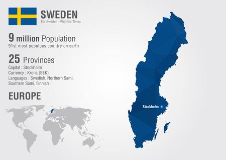 픽셀 다이아몬드 질감 세계 지리 스웨덴 세계지도