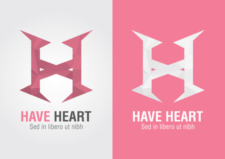 sign h: H Heart  An icon from an alphabet H  Show your Heart  For your business success