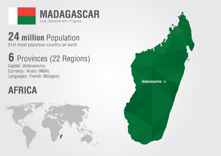 populous: Madagascar world map with a pixel diamond texture  World Geography  Illustration