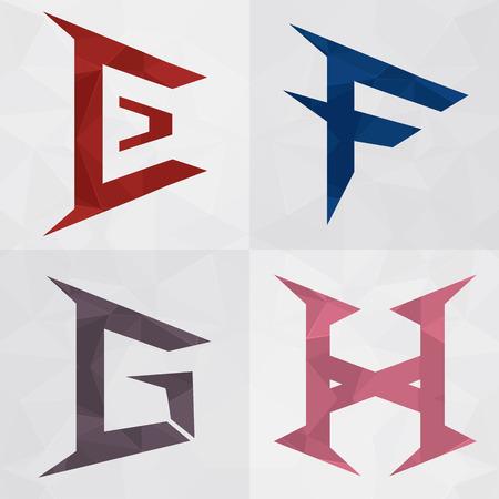 귀하의 비즈니스 성공을위한 창조적 인 아이콘 형태로 사업에 EFGH 알파벳 일러스트