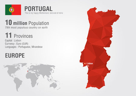 Portugal World map with a pixel diamond texture  World geography  Illustration
