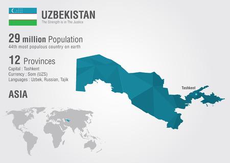 oezbekistan: Oezbekistan wereld kaart met een pixel diamant textuur. Wereld geografie.