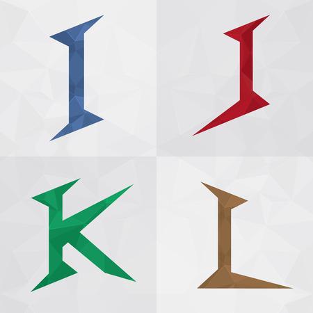 I J K L Mix alphabet letter font icon. Creative Marketing. For your business success. Illustration
