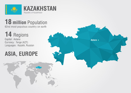 Kazakhstan world map with a pixel diamond texture. World geography. Illustration