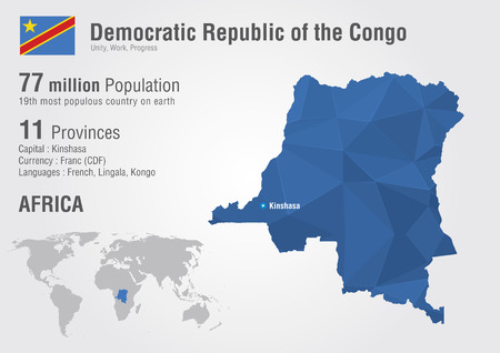 republic of the congo: Congo, Democratic Republic of the Congo world map. With a pixel diamond texture. Illustration