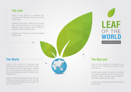 populous: Leaf of the world. Eco volunteer infographic. For green business solutions. Creative marketing.