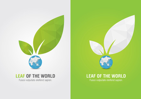 ci: Leaf of the world  Eco volunteer icon  For green business solutions  Creative marketing