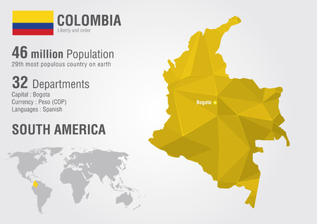 diamond texture: Colombia world map with a pixel diamond texture  World geography