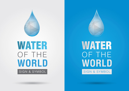 ci: Water of the world Icon signage symbol water drop with the world  Creative marketing  Illustration