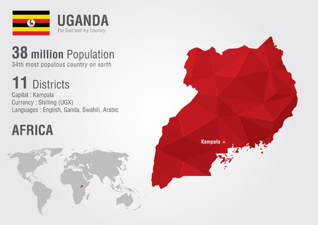 populous: Uganda world map with a pixel diamond texture  World geography  Illustration