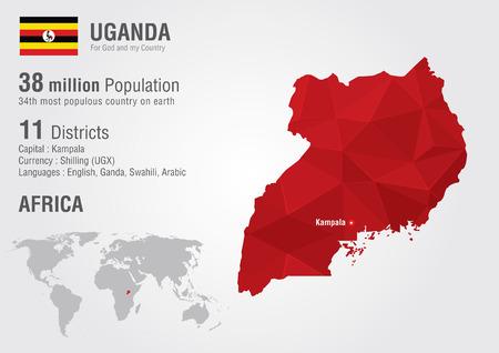 uganda: Uganda world map with a pixel diamond texture  World geography  Illustration