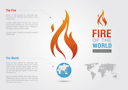 Fire of the world sign icon symbol info graphic. Creative marketing. Environmental social enterprise.