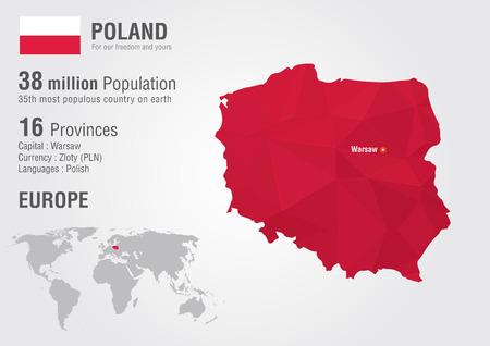 Polska mapa świata z pixel diamentu tekstur. Geografia świata. Ilustracje wektorowe