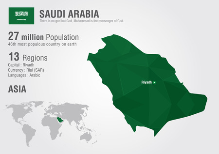 Saudi Arabia world map with a pixel diamond texture. World Geography. Vector