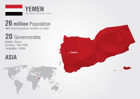 populous: Yemen world map with a pixel diamond texture. World geography.